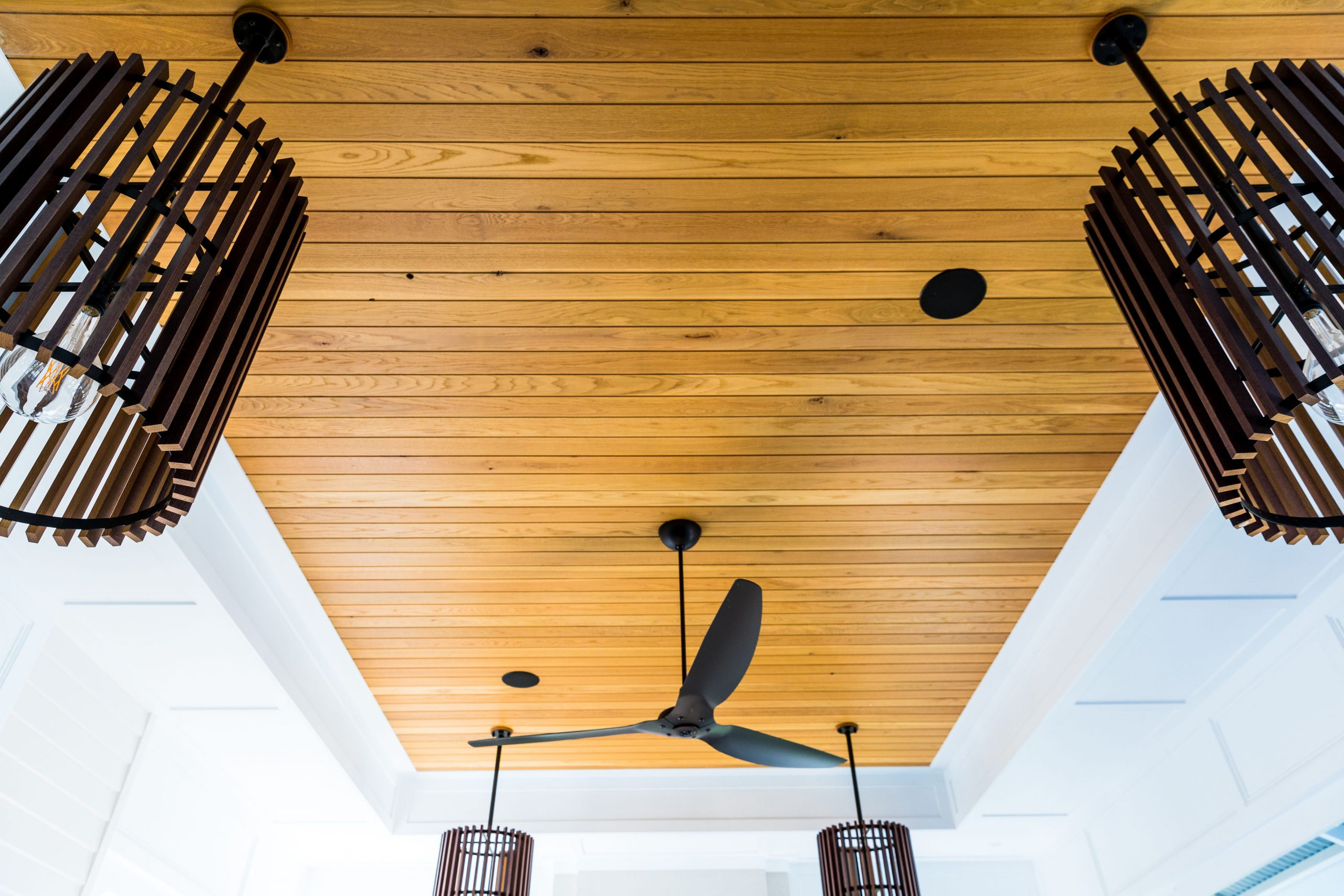 A cieling made from cedar