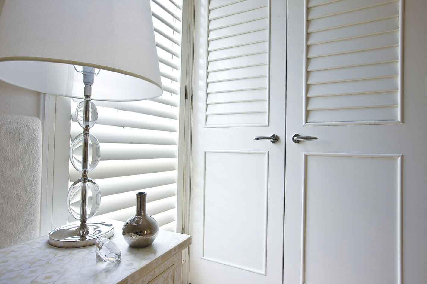 A white wooden closet