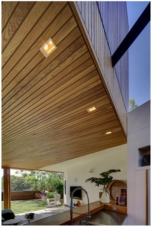 A cieling made from cedar wood for a luxury house