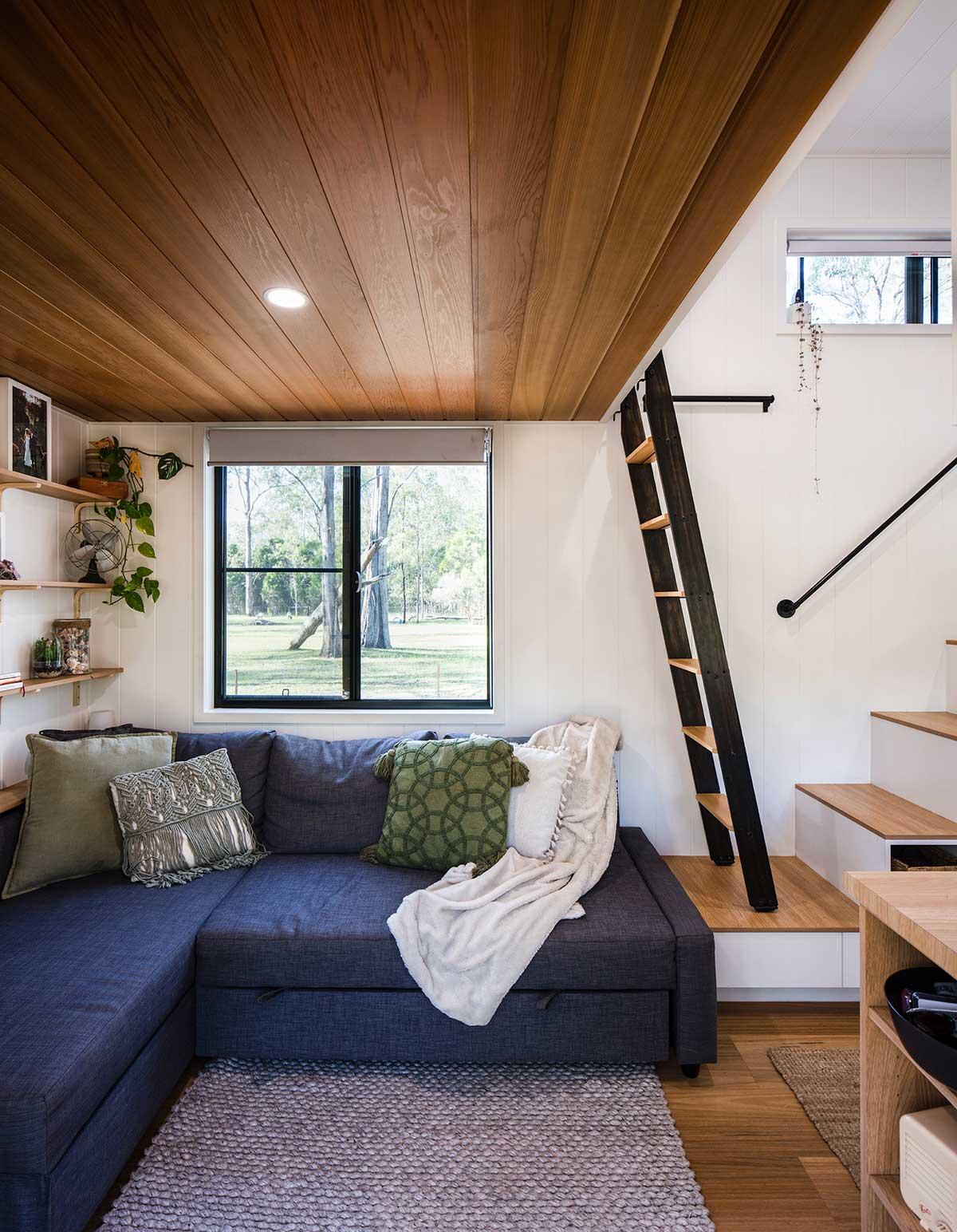 A living room space inside a tiny home