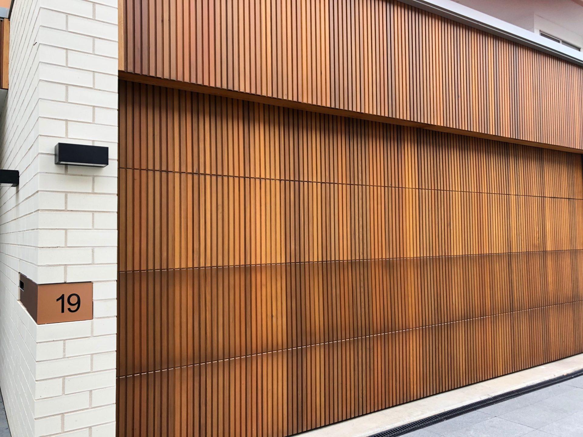 A wall made from cedar wood