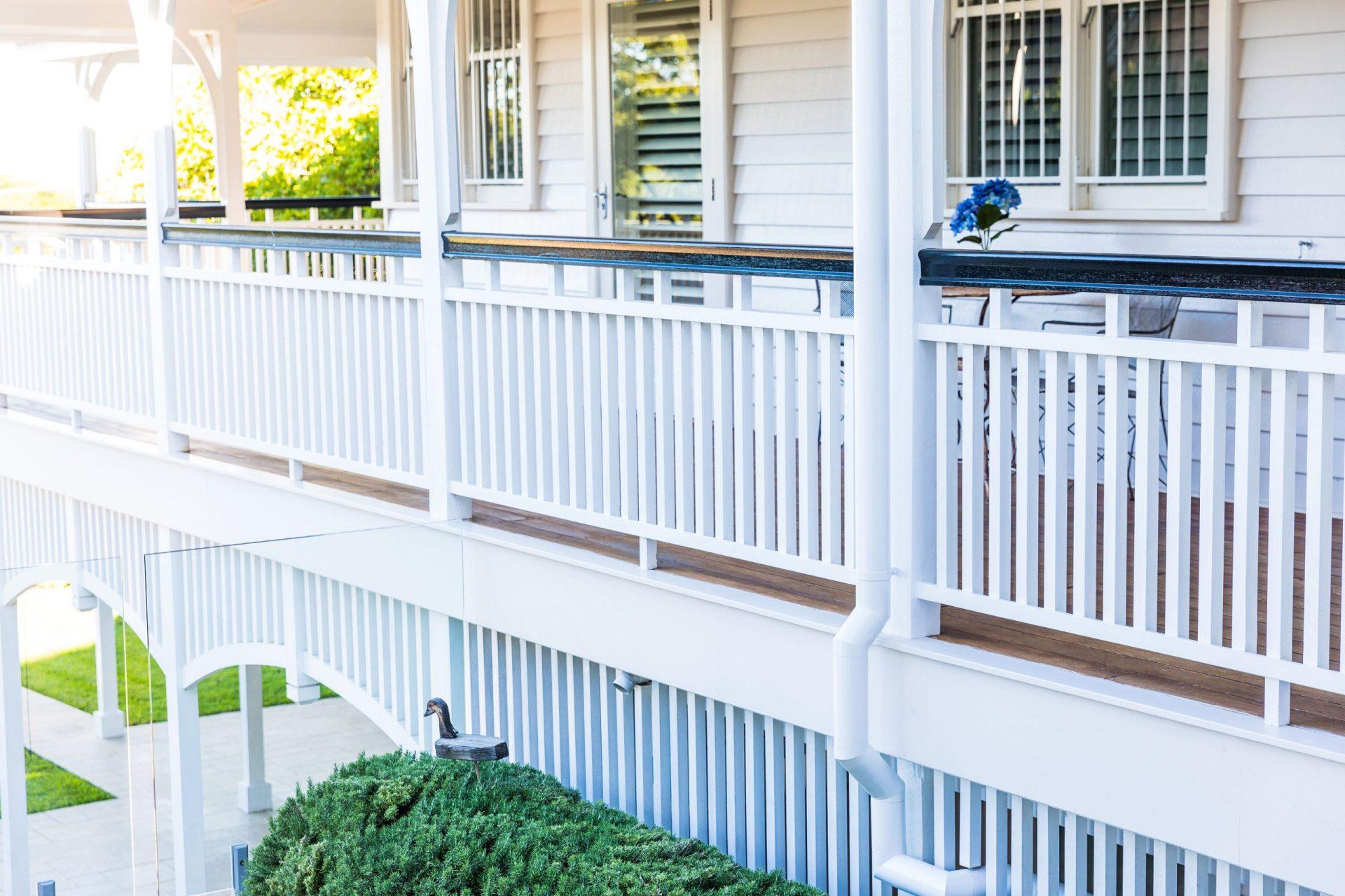 White wooden balcony fences