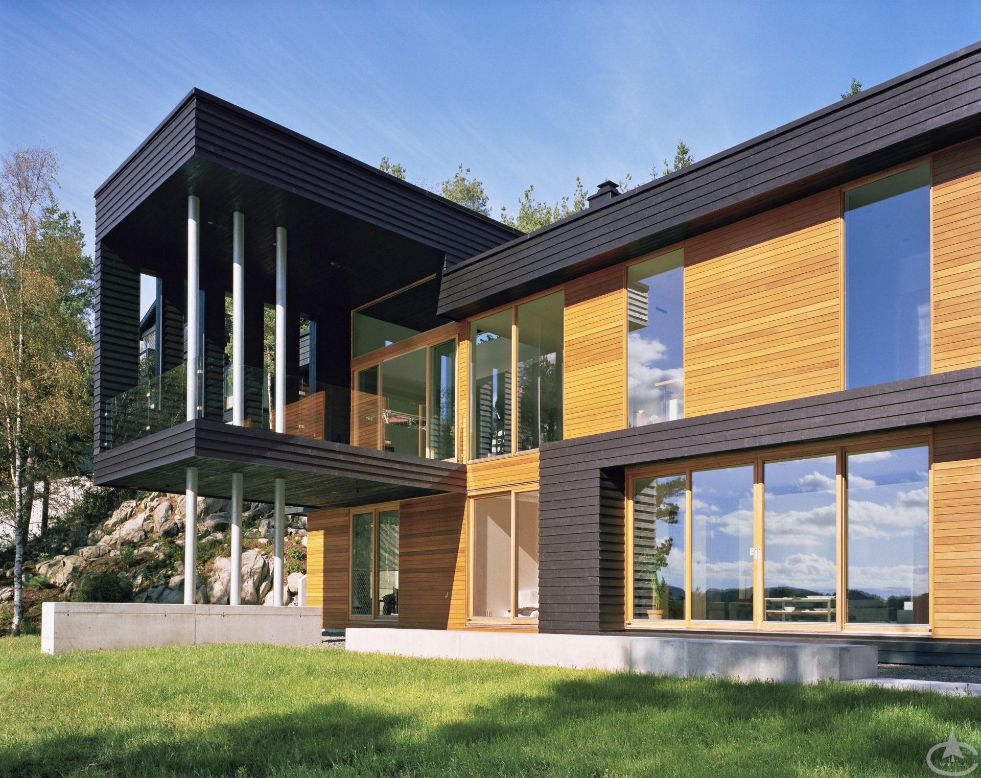 A modern luxury house made from cedar wood