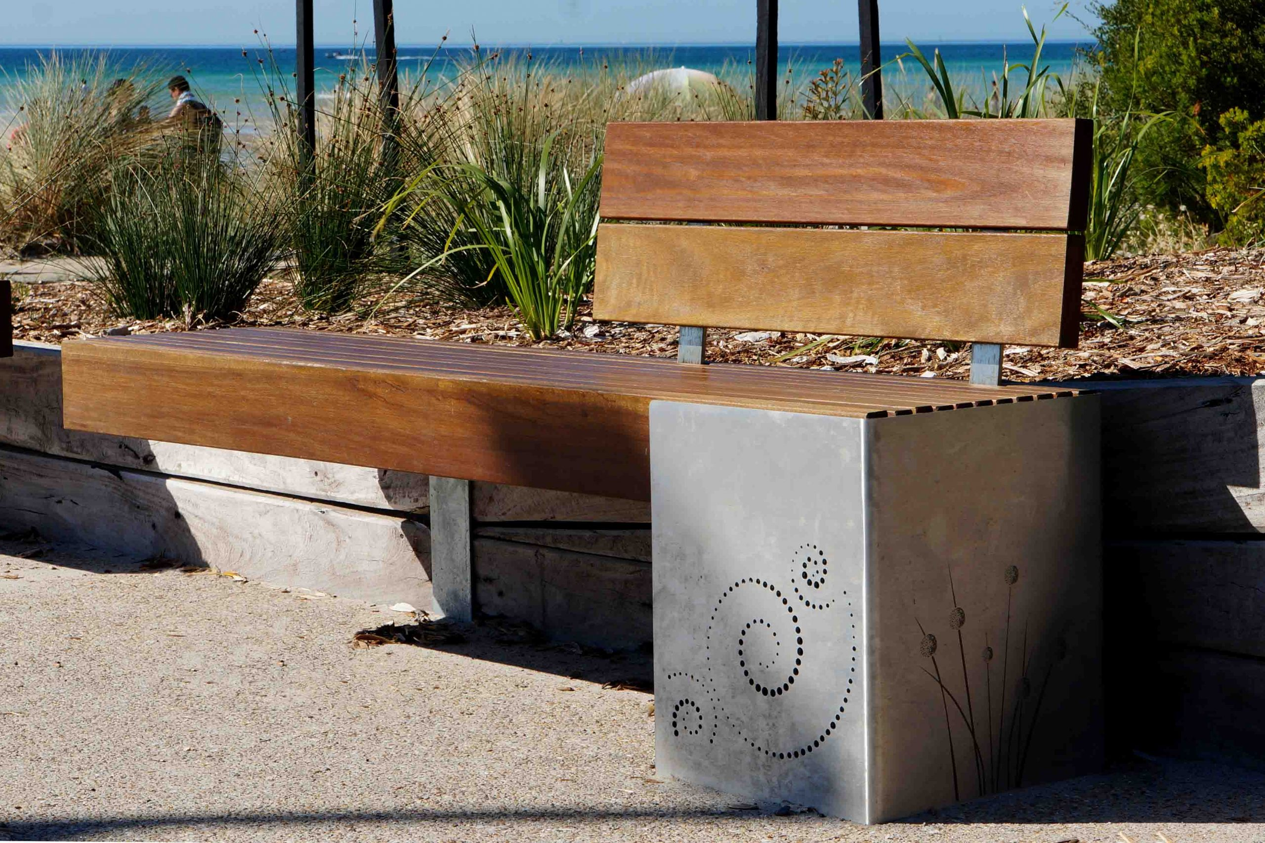 A wooden bench outdoors