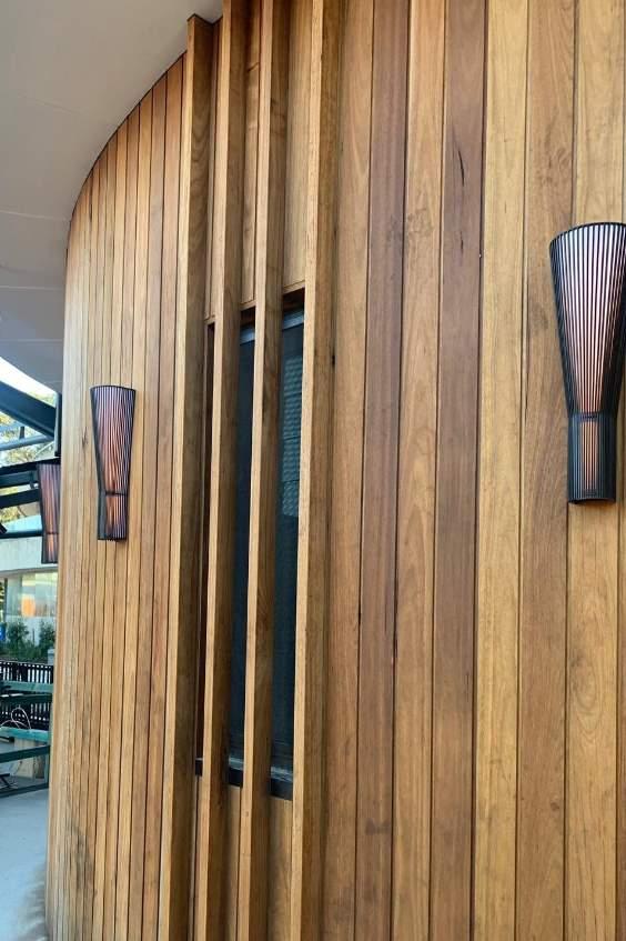 A wooden cedar wall