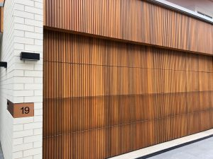 A building wall made from wooden cedar